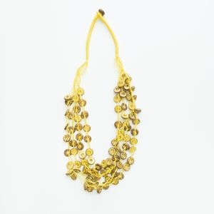 Layered, Yellow cord necklace with tan beads